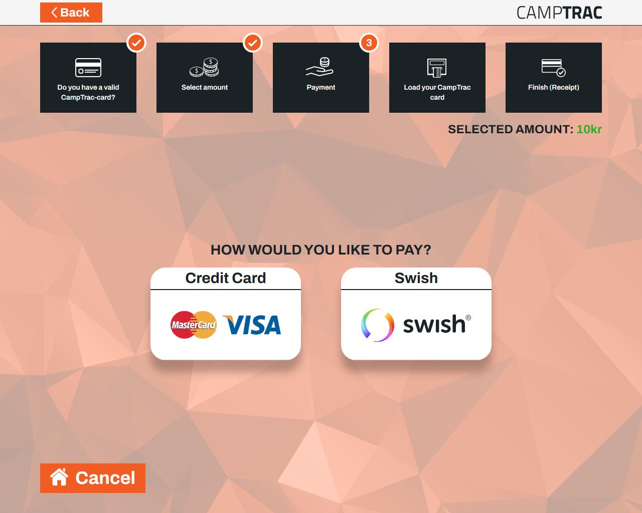 Loading kiosk VISA Mastercard